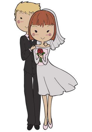 Doodle style wedding couple isolated on a white background