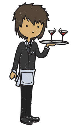 Doodle style cartoon waiter serving cocktails isolated on a white background