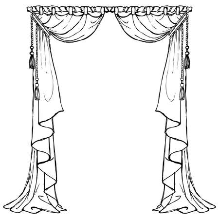 Victorian curtains black and white Illustration