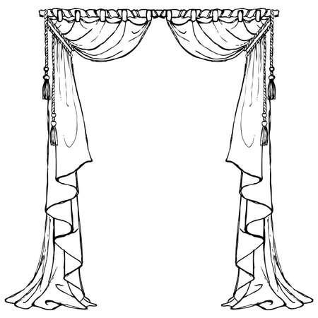Victorian curtains black and white Ilustração