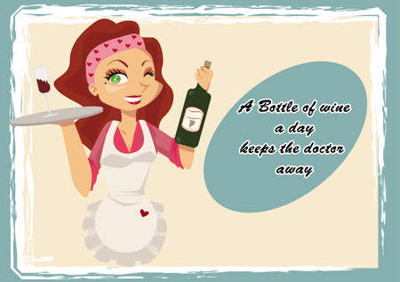 Vintage wine poster with cartoon waitress and a popular saying