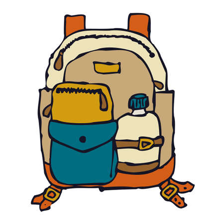 Cartoon image of a backpack with a water bottle.