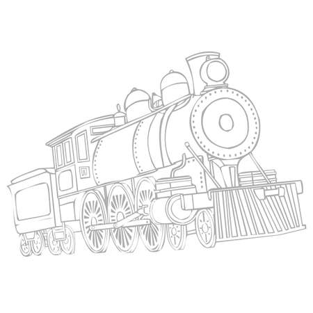 Image of a retro locomotive isolated on a white background