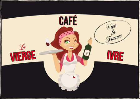Vintage French bar poster with cartoon waitress in the middle