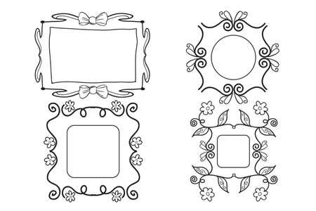 Girly black and white picture frames Vector illustration. Ilustração