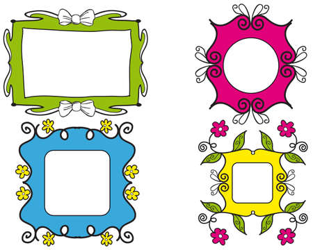 Set of nice colorful picture frames with flowers and ribbon