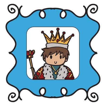 Image of a framed doodle king in a blue frame