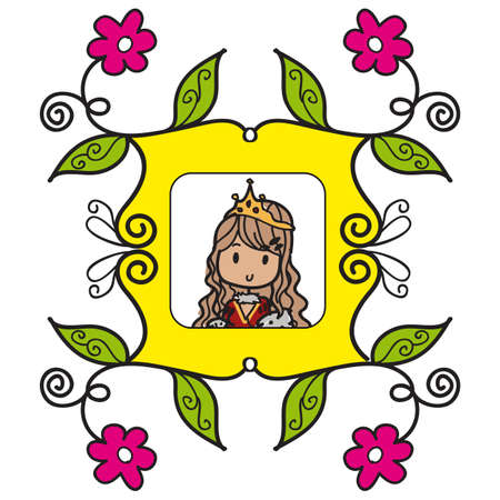 Doodle style queen in a yellow picture frame