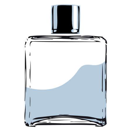 Sketch of a clean designed perfume bottle vector illustration. Illustration
