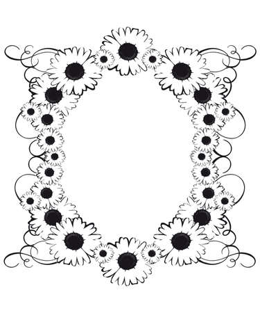 Black and white floral border with daisy and swirls 일러스트