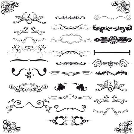 Set of horizontal calligraphic design elements Illustration