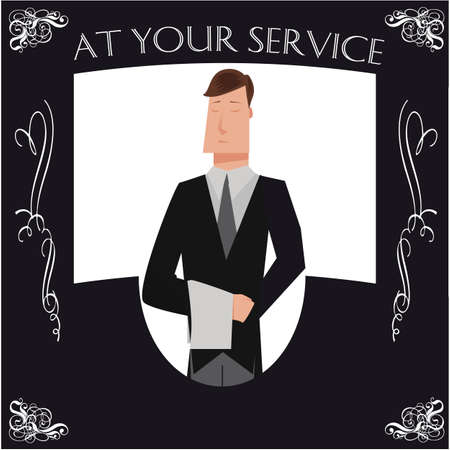 Black and white butler poster with cartoon butler and typography that says at your service