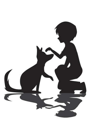 Shadow silhouette of a boy striking his puppy dog isolated on a white background