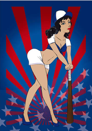 Sexy American baseball pin up leaning on a baseball bat with a blue and white outfit on a stars and stripes background 일러스트