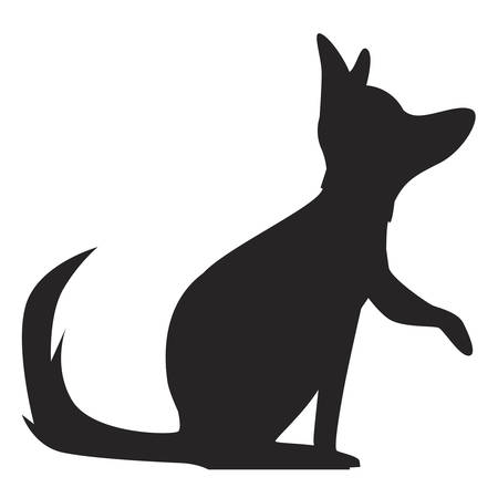 Silhouette of a German shepherd dog looking up and raising his leg