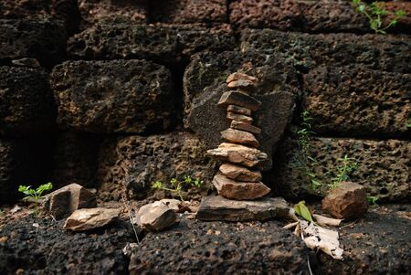 stack stones: stack stones in the old temple