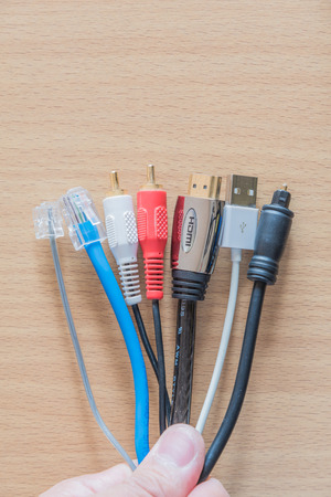 different type of connector on wooden background Stock Photo