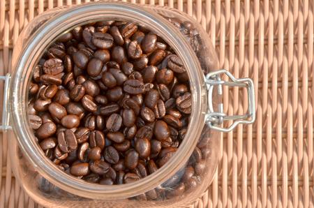 coffee beans in the bottle photo