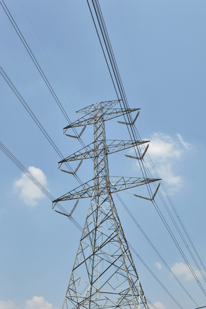 transmission line: power tower and transmission line Stock Photo