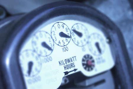 Power meter showing kilowatt hours. photo