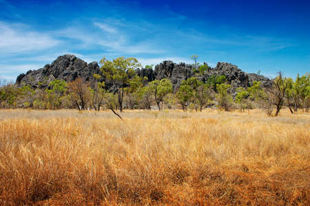 but: Beautiful but rugged outback of Australia.  The volcanic rock outcrop is the Royal Arch caves at Chillagoe.