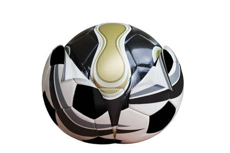 reborn: New design football emerging from old. Stock Photo