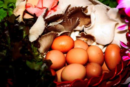 eggs,gift baskets. Stock Photo