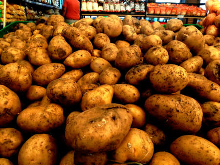 Big Raw Potatoes in the Supermarket,Healthy Food