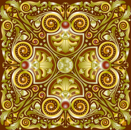 gold textures: Pattern quadrate gold symmetrical for textures