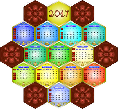 weeks: calendar 2017 - weeks start on sunday. Can be used for web and print design: card, banner, poster, label, bookmark.