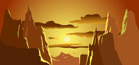 Sunset mountain peaks and clouds vector
