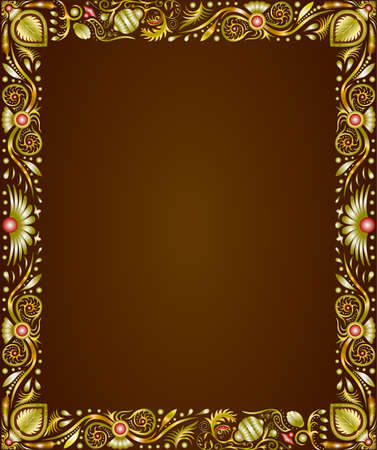 picture framing: gold frame portrait designs for paintings and photographs Illustration