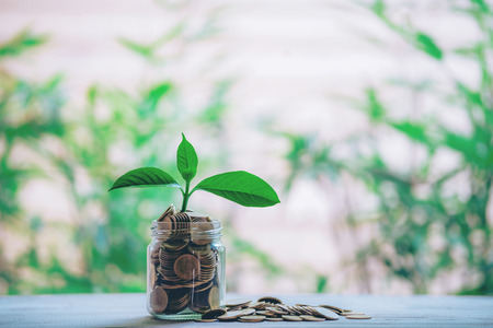 Planting coins in hemp bags - investment ideas for growth Stock Photo