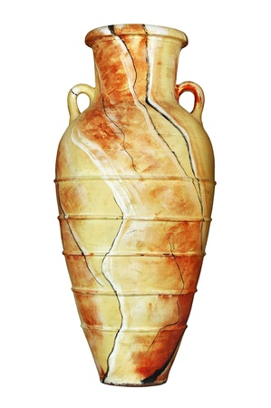 The old Egyptian vase on a white background of Stock Photo - 20095545