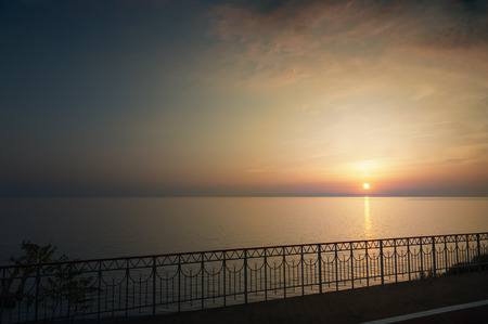 path to romance: Sunset on the Black Sea. Russia, Sochi Stock Photo