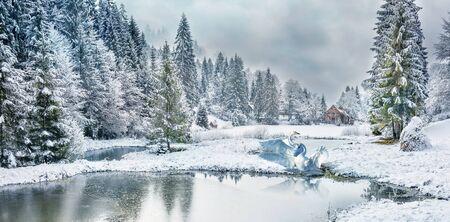 Winter forest in the Carpathians on the mountain lake Vita, Mizhhirya Standard-Bild