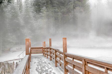 Wooden bridge in the fog
