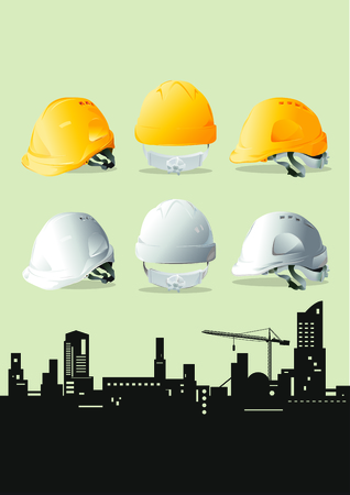 industrial safety: Yellow and White safety hard hat