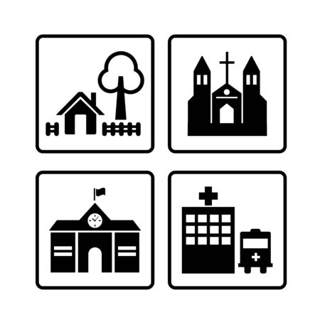church family: home and building, vector symbol