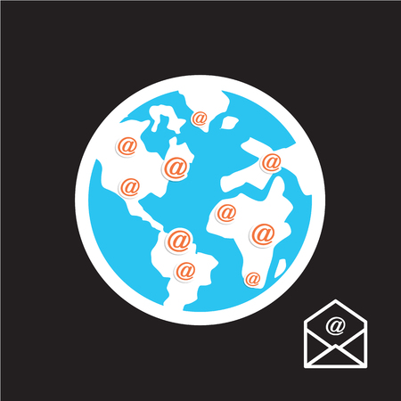 Mail Icon,  world  Mail Illustration