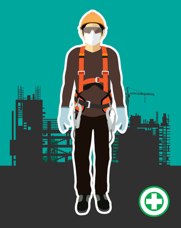 Personal Protect Equipment, safety harness , construction vector 写真素材 - 120785616