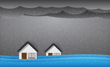 Rain and flood , storm, vector