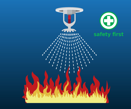 fire sprinkler, safety, vector design icon 向量圖像