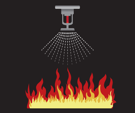 fire sprinkler, safety, vector design icon Illustration