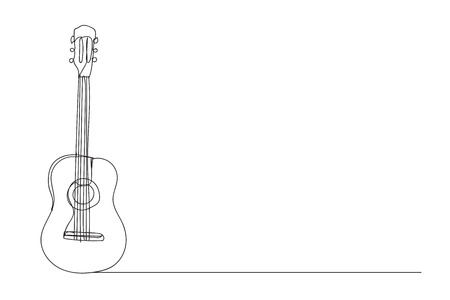 guitar , line drawing style,vector design Illustration