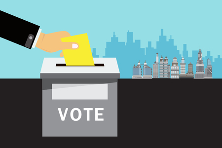 hand putting voting paper in the ballot box Illustration