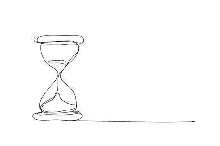 hourglass , line drawing style,vector design Illustration