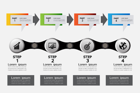 4 steps infographic template,Timeline vector infographic, business concept Illustration