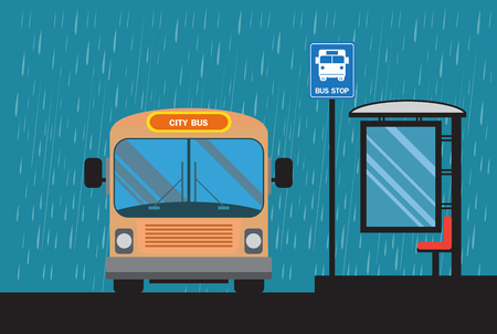 Bus icon , bus stop,background rain clouds Illustration