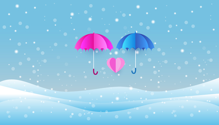 umbrella in snow, paper art style, heart in the sky